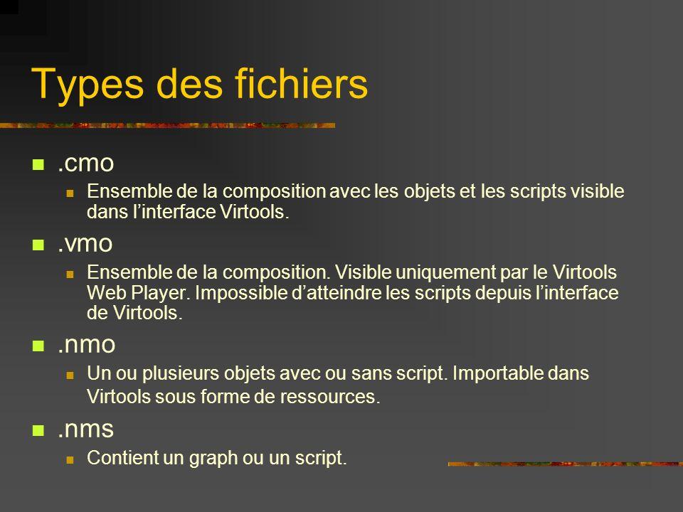 Types des fichiers.cmo Ensemble de la composition avec les objets et les scripts visible dans linterface Virtools..vmo Ensemble de la composition. Vis