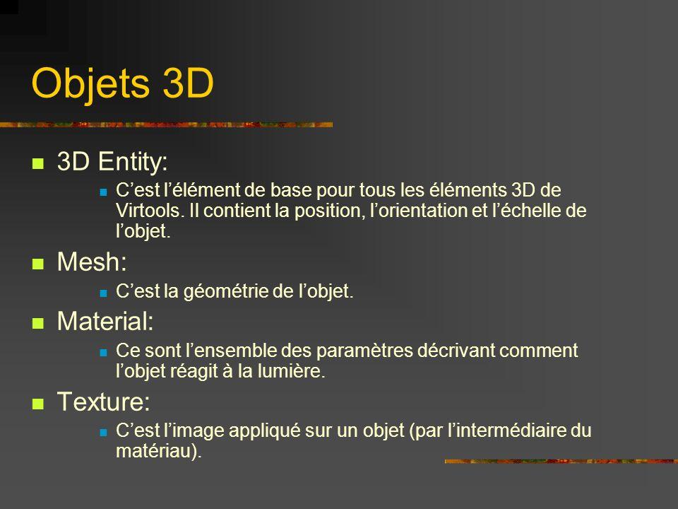 Objets 3D 3D Entity: Cest lélément de base pour tous les éléments 3D de Virtools. Il contient la position, lorientation et léchelle de lobjet. Mesh: C