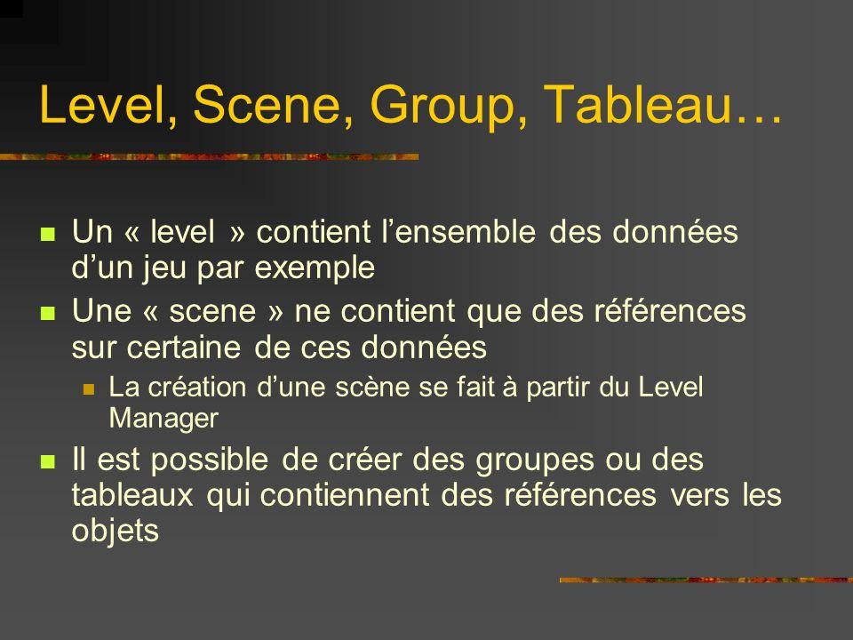 Level, Scene, Group, Tableau… Un « level » contient lensemble des données dun jeu par exemple Une « scene » ne contient que des références sur certain