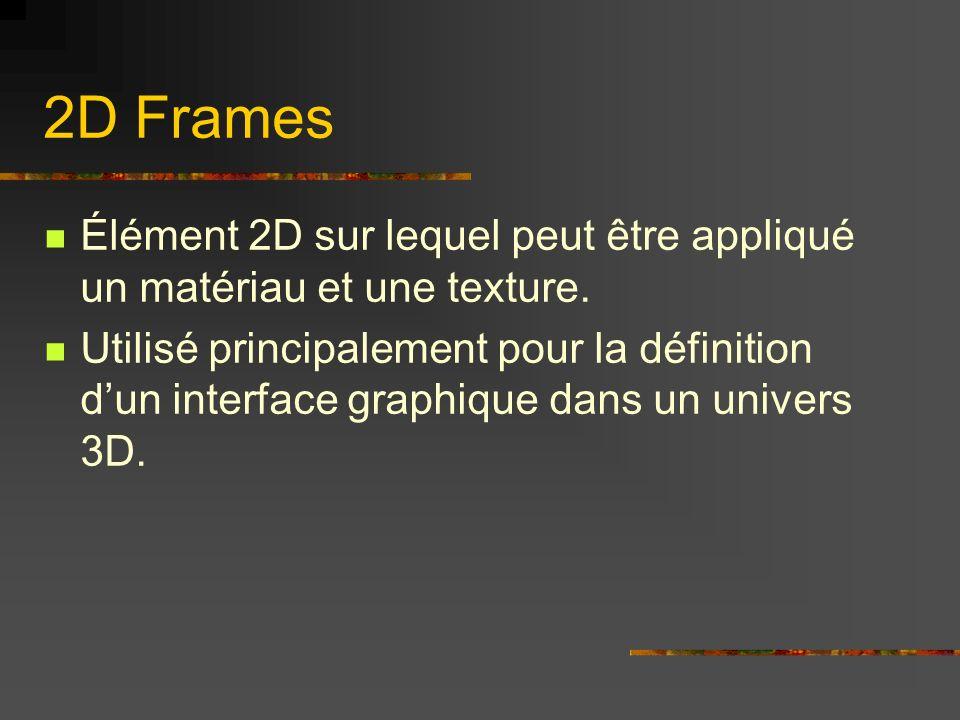 2D Frames Élément 2D sur lequel peut être appliqué un matériau et une texture. Utilisé principalement pour la définition dun interface graphique dans
