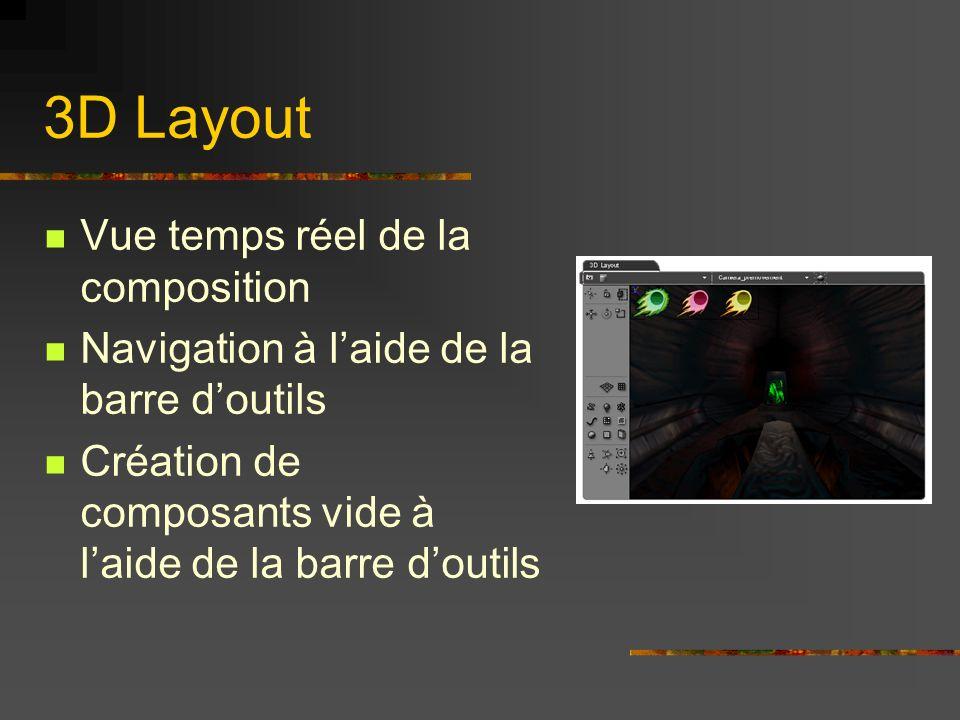 3D Layout Vue temps réel de la composition Navigation à laide de la barre doutils Création de composants vide à laide de la barre doutils