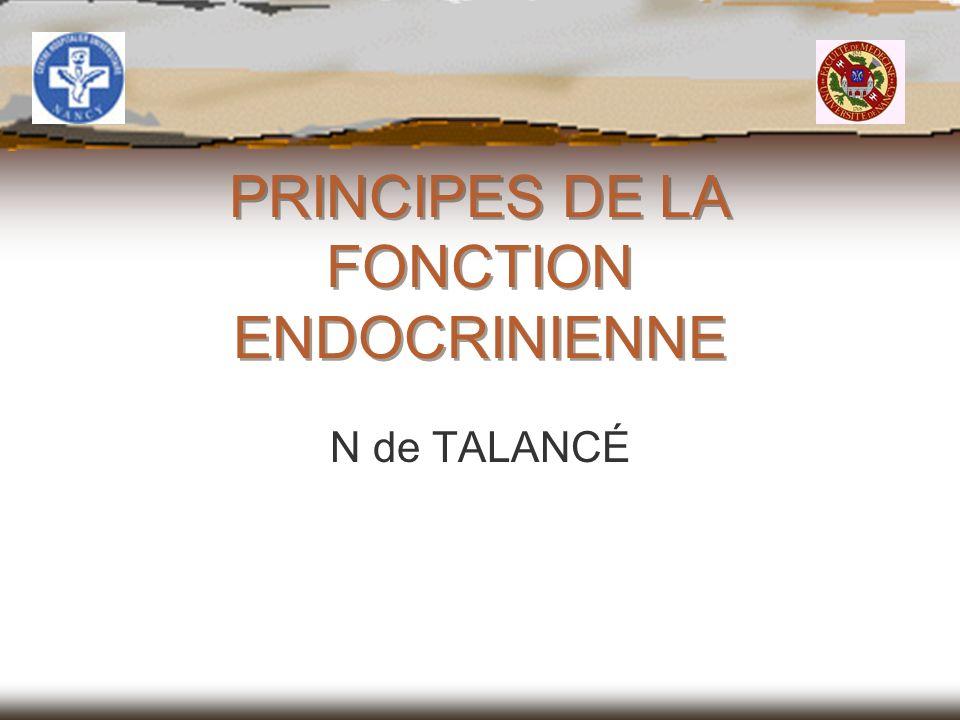 PRINCIPES DE LA FONCTION ENDOCRINIENNE N de TALANCÉ