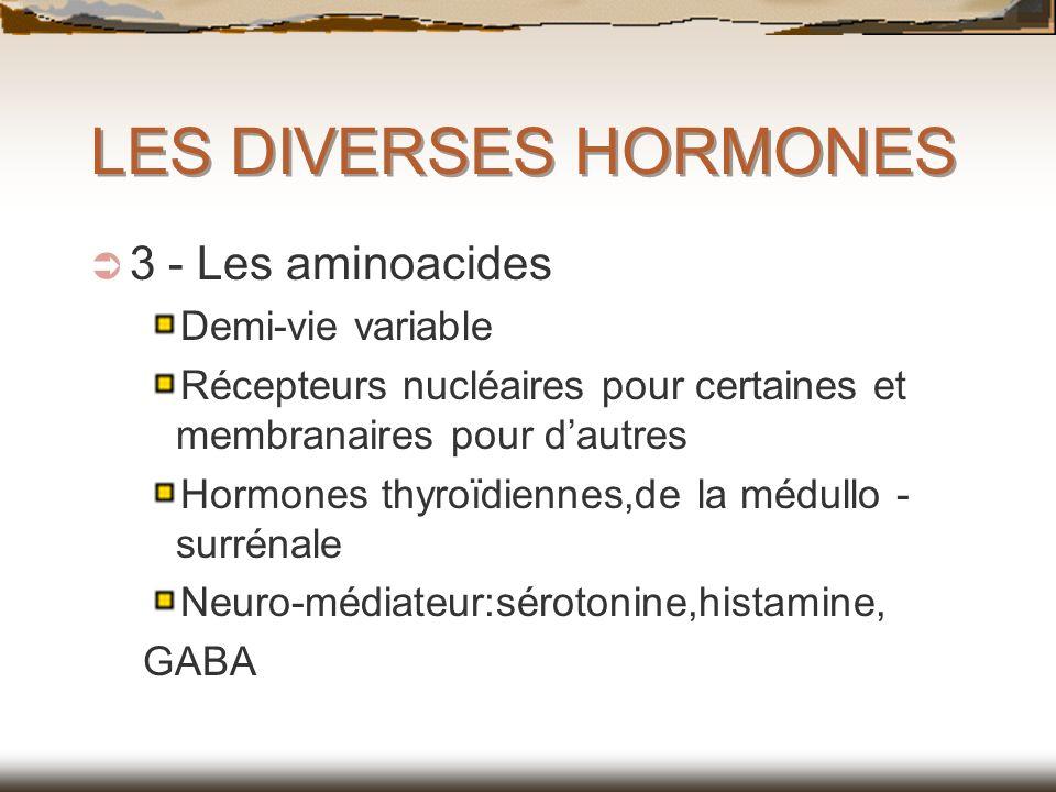 LES DIVERSES HORMONES 3 - Les aminoacides Demi-vie variable Récepteurs nucléaires pour certaines et membranaires pour dautres Hormones thyroïdiennes,d