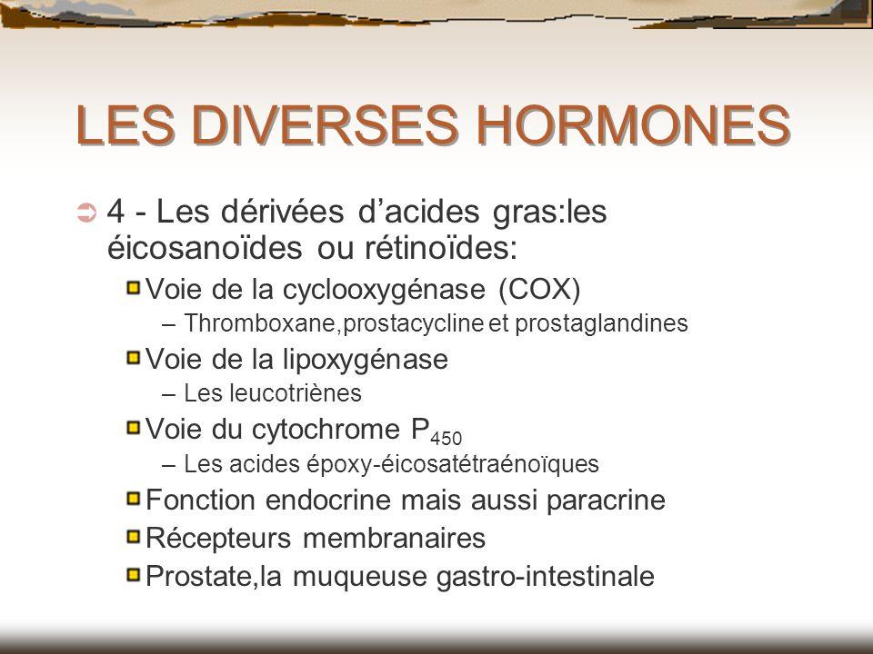 LES DIVERSES HORMONES 4 - Les dérivées dacides gras:les éicosanoïdes ou rétinoïdes: Voie de la cyclooxygénase (COX) –Thromboxane,prostacycline et pros