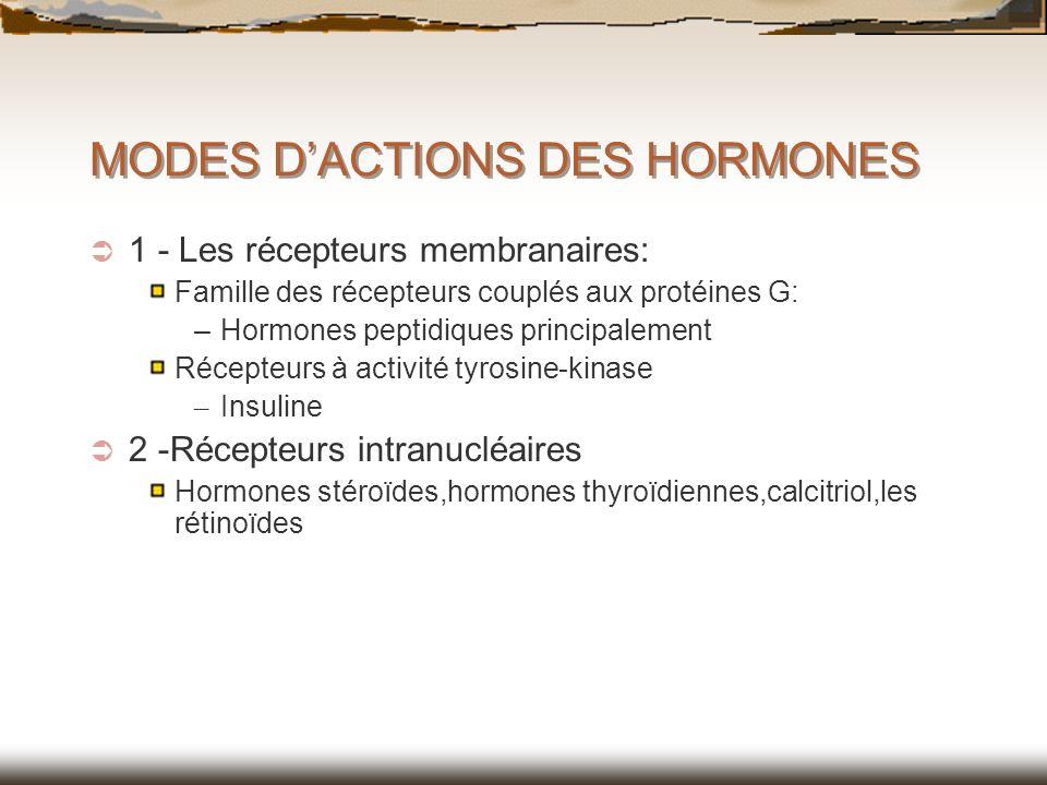 MODES DACTIONS DES HORMONES 1 - Les récepteurs membranaires: Famille des récepteurs couplés aux protéines G: –Hormones peptidiques principalement Réce