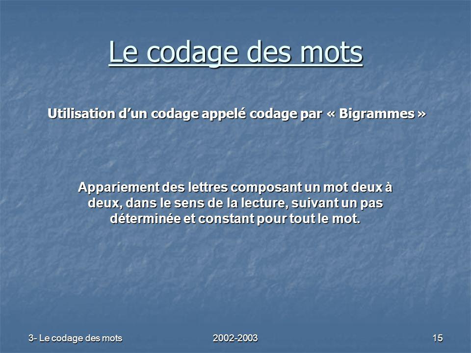 3- Le codage des mots2002-200315 Utilisation dun codage appelé codage par « Bigrammes » Appariement des lettres composant un mot deux à deux, dans le