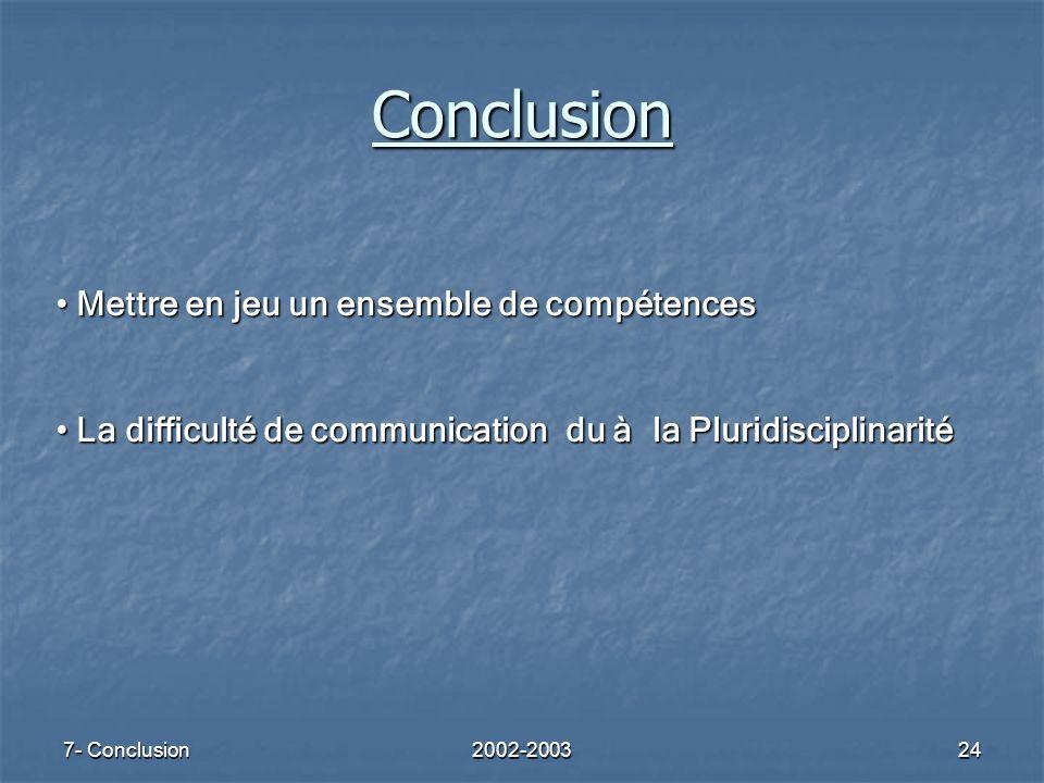 7- Conclusion2002-200324 Conclusion Mettre en jeu un ensemble de compétences Mettre en jeu un ensemble de compétences La difficulté de communication d