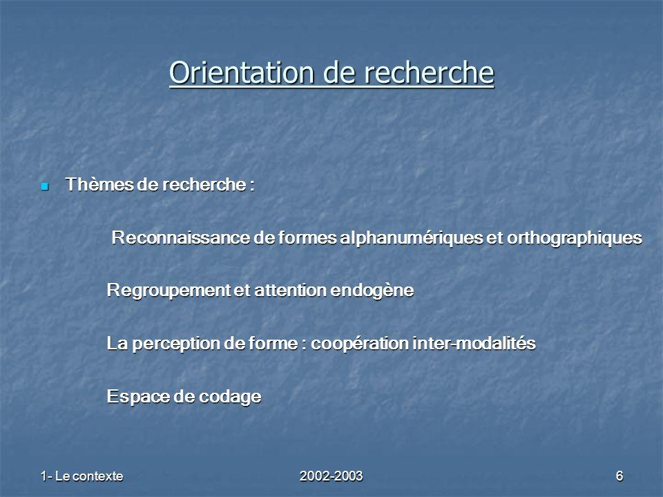 1- Le contexte2002-20036 Orientation de recherche Thèmes de recherche : Thèmes de recherche : Reconnaissance de formes alphanumériques et orthographiq