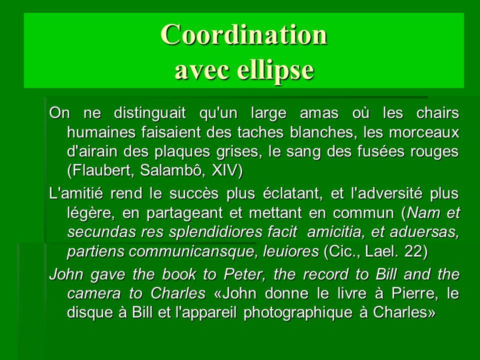 Coordination avec ellipse On ne distinguait qu'un large amas où les chairs humaines faisaient des taches blanches, les morceaux d'airain des plaques g