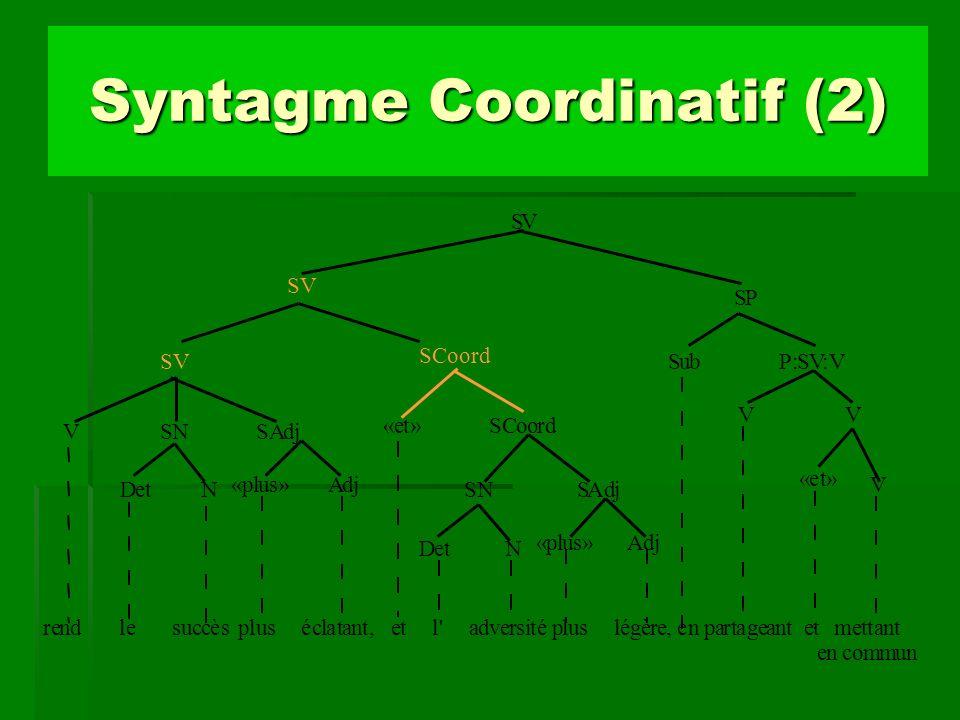 Syntagme Coordinatif (2)