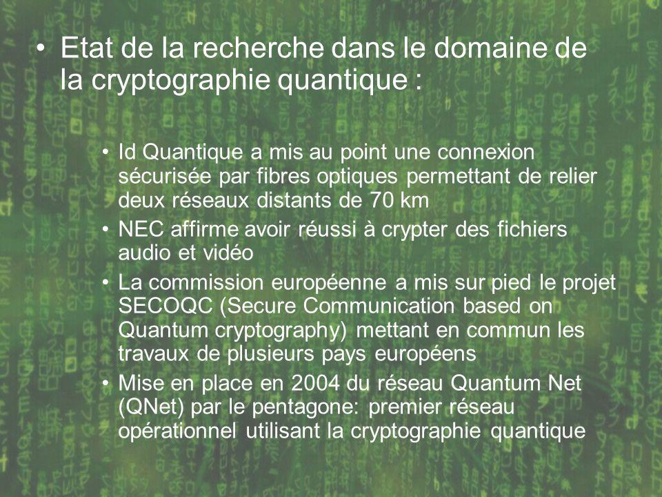 Etat de la recherche dans le domaine de la cryptographie quantique : Id Quantique a mis au point une connexion sécurisée par fibres optiques permettan