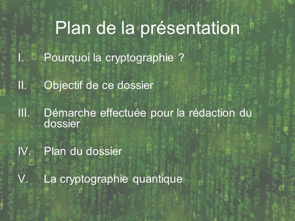 Plan de la présentation I.Pourquoi la cryptographie ? II.Objectif de ce dossier III.Démarche effectuée pour la rédaction du dossier IV.Plan du dossier