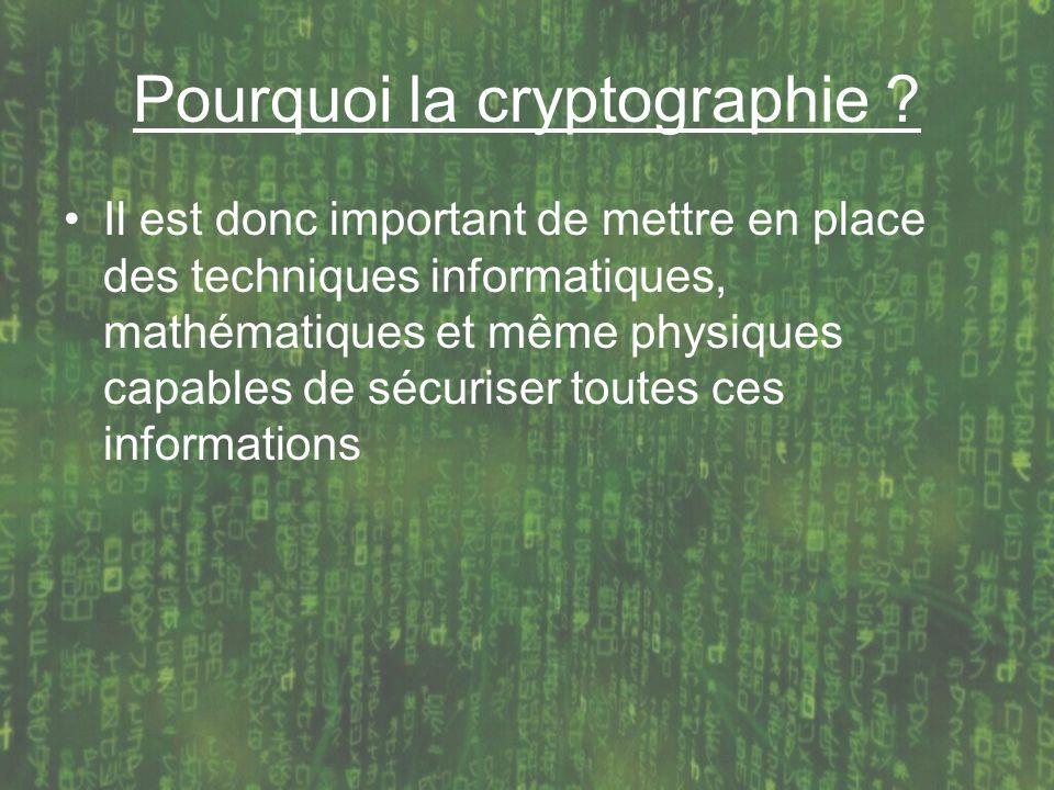 Pourquoi la cryptographie ? Il est donc important de mettre en place des techniques informatiques, mathématiques et même physiques capables de sécuris
