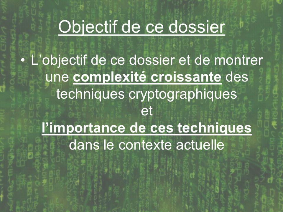 Objectif de ce dossier Lobjectif de ce dossier et de montrer une complexité croissante des techniques cryptographiques et limportance de ces technique