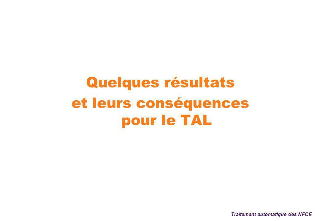 Quelques résultats et leurs conséquences pour le TAL Traitement automatique des NFCE