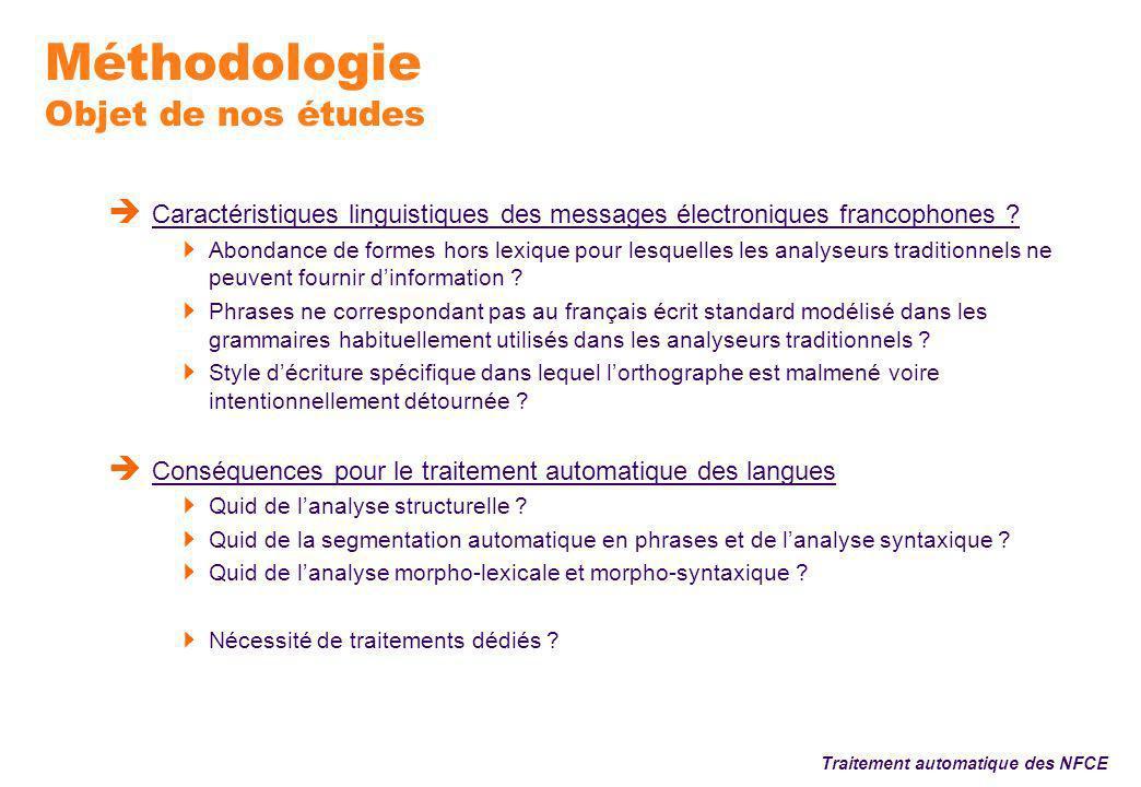 Méthodologie Objet de nos études Caractéristiques linguistiques des messages électroniques francophones .