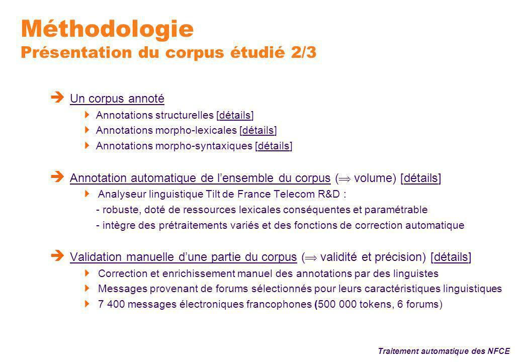 Méthodologie Présentation du corpus étudié 3/3 Un corpus électronique réutilisable i.e.