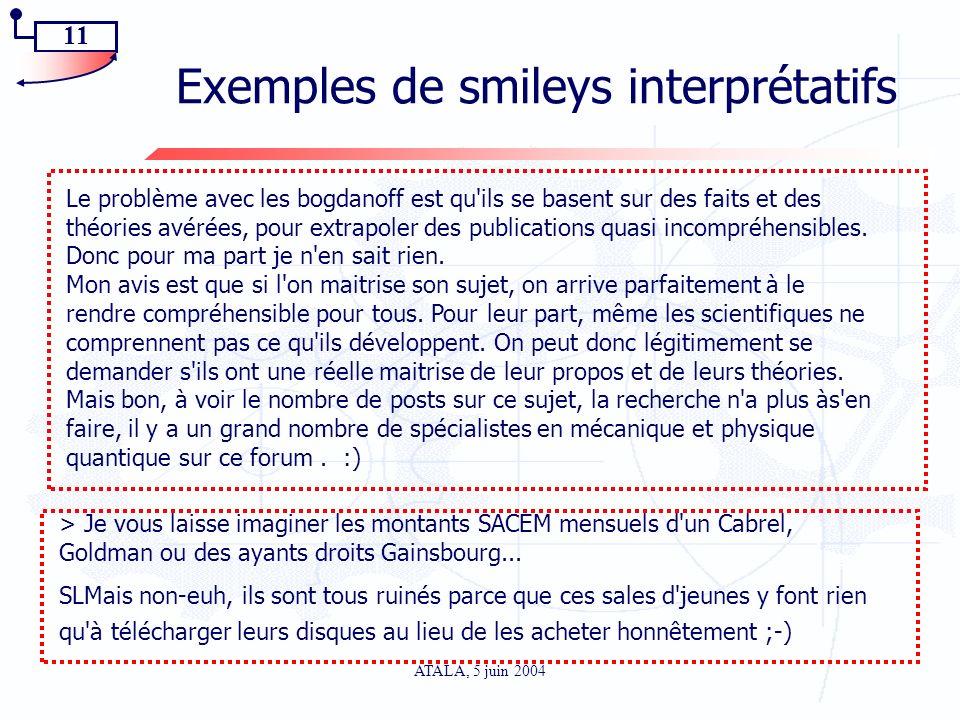 11 ATALA, 5 juin 2004 Exemples de smileys interprétatifs Le problème avec les bogdanoff est qu'ils se basent sur des faits et des théories avérées, po