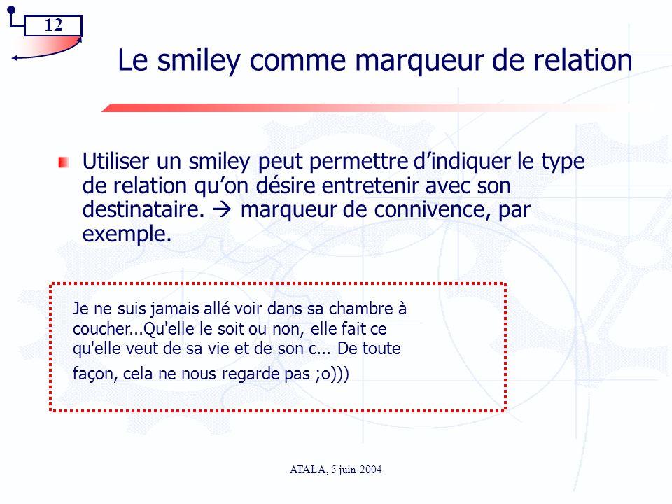 12 ATALA, 5 juin 2004 Le smiley comme marqueur de relation Utiliser un smiley peut permettre dindiquer le type de relation quon désire entretenir avec