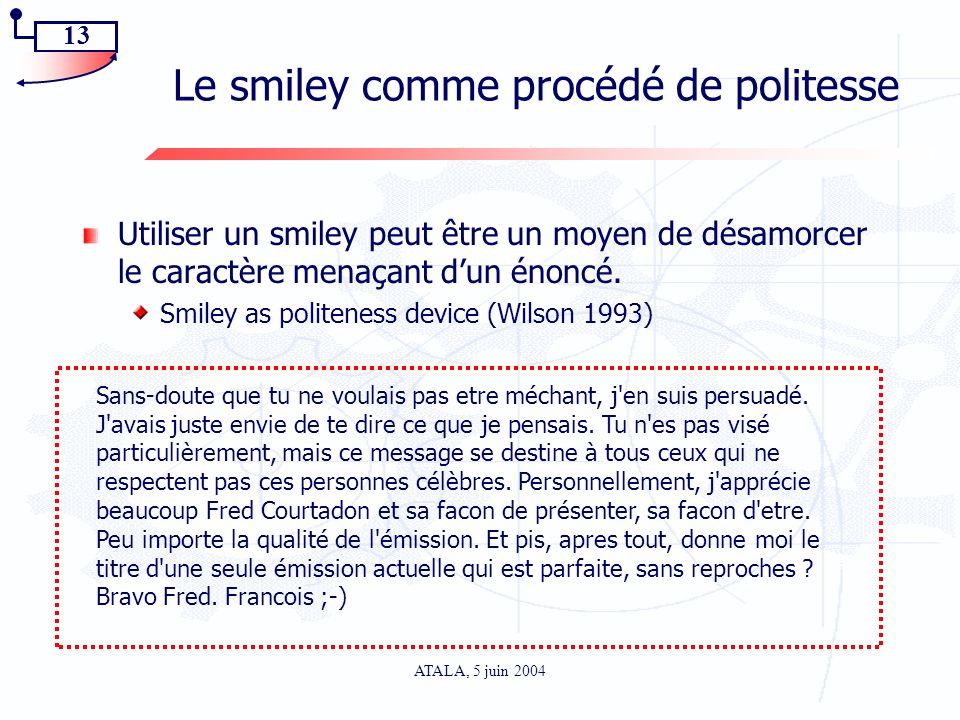13 ATALA, 5 juin 2004 Le smiley comme procédé de politesse Utiliser un smiley peut être un moyen de désamorcer le caractère menaçant dun énoncé. Smile