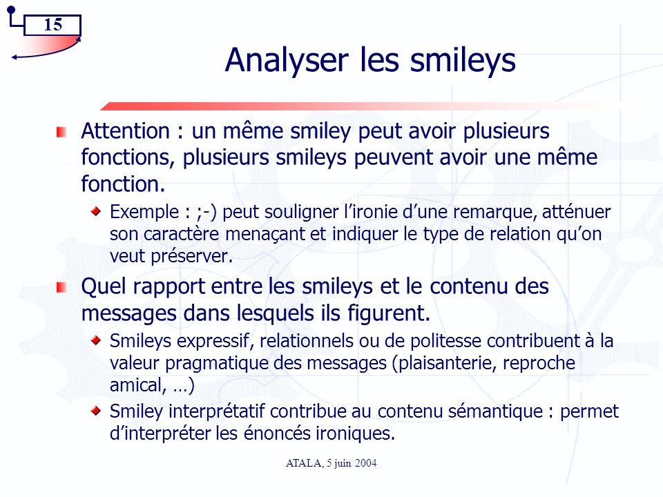 15 ATALA, 5 juin 2004 Analyser les smileys Attention : un même smiley peut avoir plusieurs fonctions, plusieurs smileys peuvent avoir une même fonctio