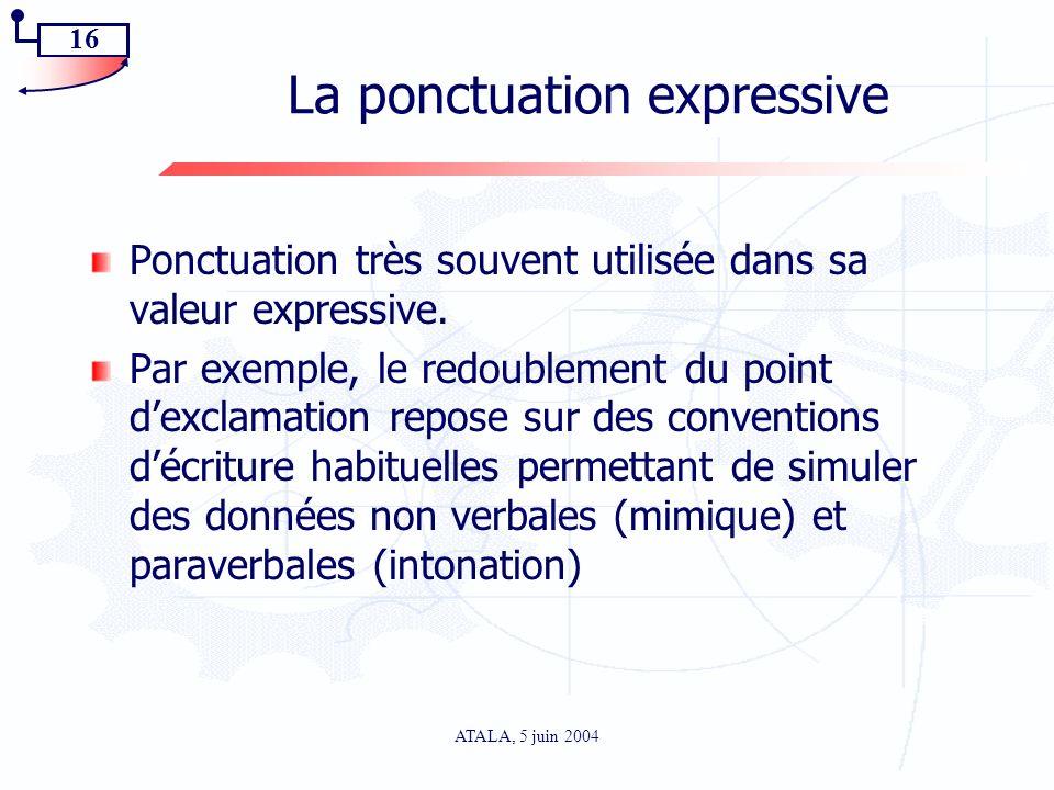 16 ATALA, 5 juin 2004 La ponctuation expressive Ponctuation très souvent utilisée dans sa valeur expressive. Par exemple, le redoublement du point dex