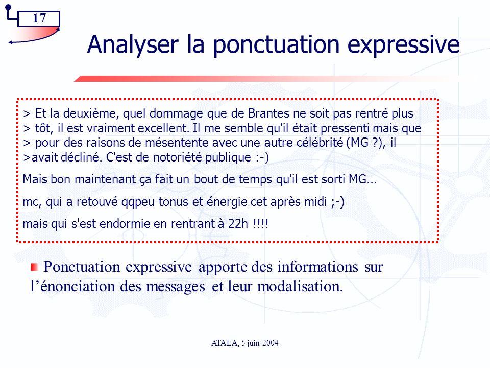 17 ATALA, 5 juin 2004 Analyser la ponctuation expressive > Et la deuxième, quel dommage que de Brantes ne soit pas rentré plus > tôt, il est vraiment