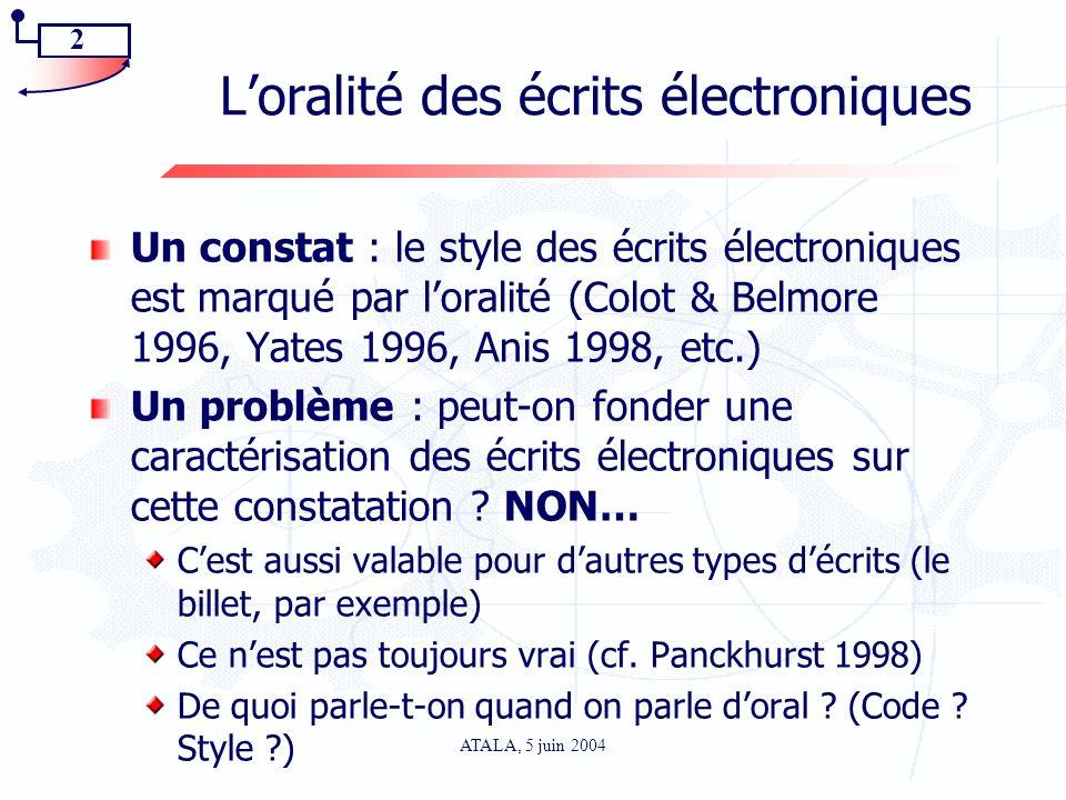 2 ATALA, 5 juin 2004 Loralité des écrits électroniques Un constat : le style des écrits électroniques est marqué par loralité (Colot & Belmore 1996, Y