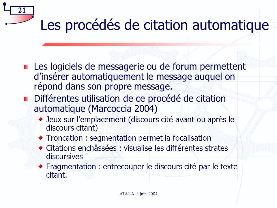 21 ATALA, 5 juin 2004 Les procédés de citation automatique Les logiciels de messagerie ou de forum permettent dinsérer automatiquement le message auqu