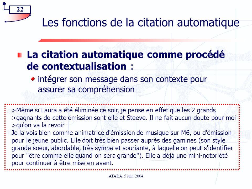 22 ATALA, 5 juin 2004 Les fonctions de la citation automatique La citation automatique comme procédé de contextualisation : intégrer son message dans
