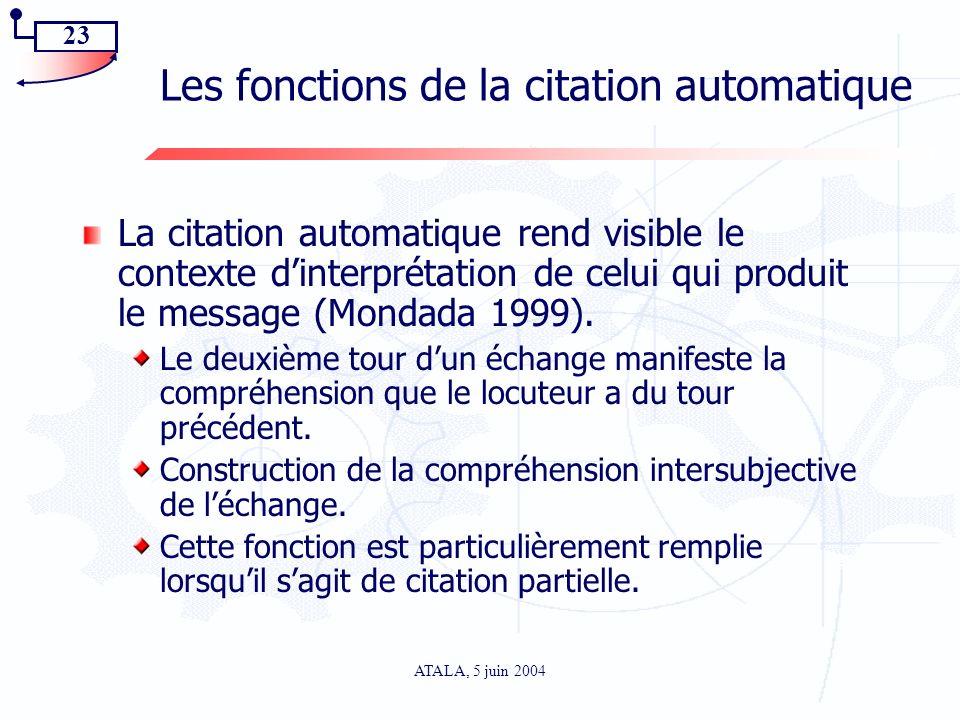 23 ATALA, 5 juin 2004 Les fonctions de la citation automatique La citation automatique rend visible le contexte dinterprétation de celui qui produit l