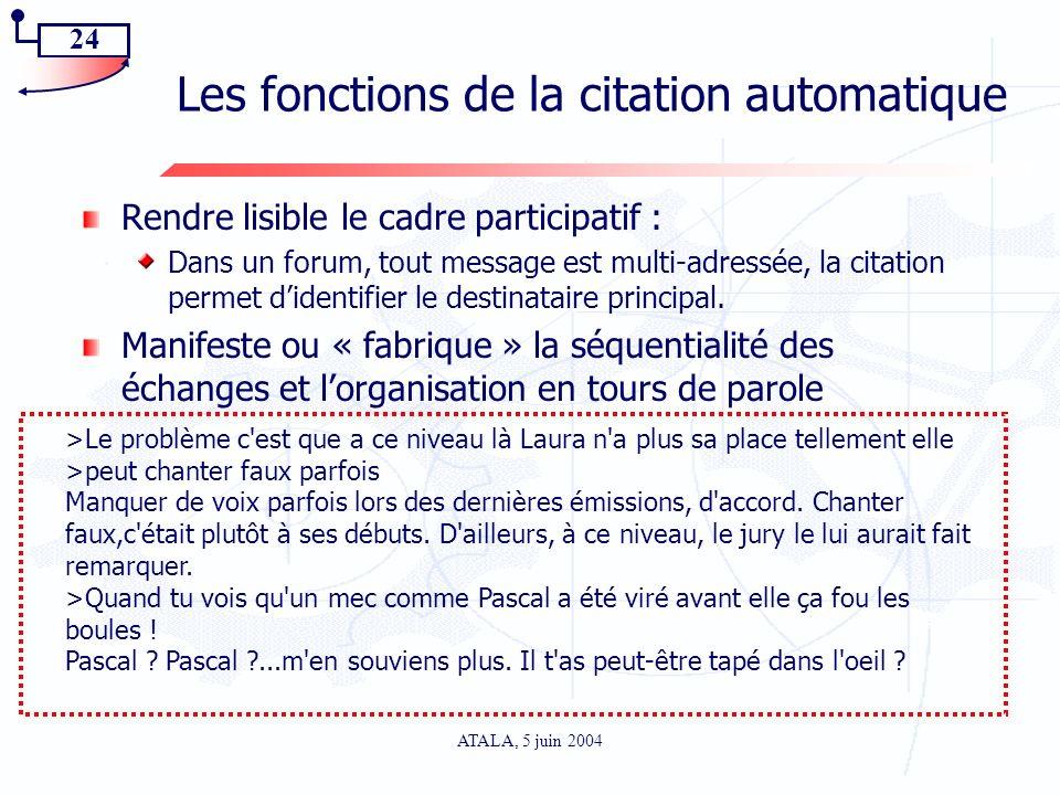 24 ATALA, 5 juin 2004 Les fonctions de la citation automatique Rendre lisible le cadre participatif : Dans un forum, tout message est multi-adressée,