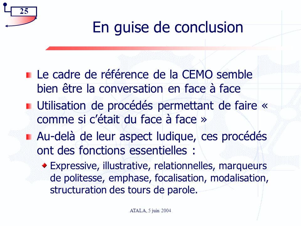 25 ATALA, 5 juin 2004 En guise de conclusion Le cadre de référence de la CEMO semble bien être la conversation en face à face Utilisation de procédés