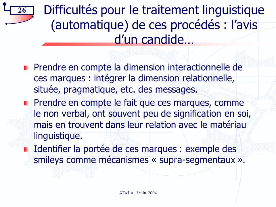 26 ATALA, 5 juin 2004 Difficultés pour le traitement linguistique (automatique) de ces procédés : lavis dun candide… Prendre en compte la dimension in