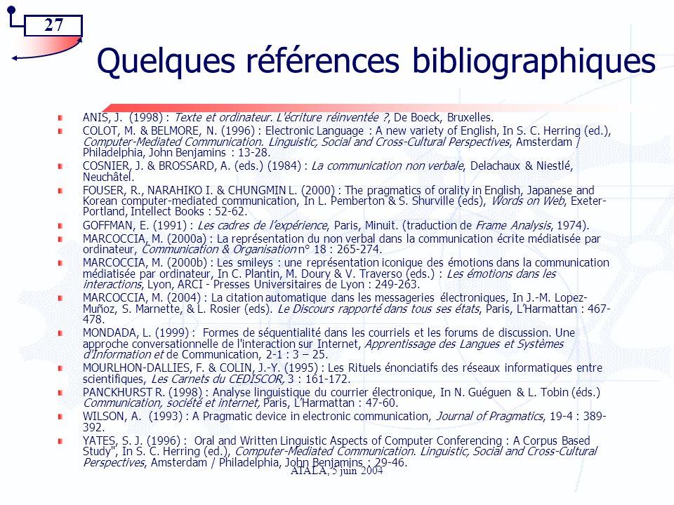 27 ATALA, 5 juin 2004 Quelques références bibliographiques ANIS, J. (1998) : Texte et ordinateur. L'écriture réinventée ?, De Boeck, Bruxelles. COLOT,