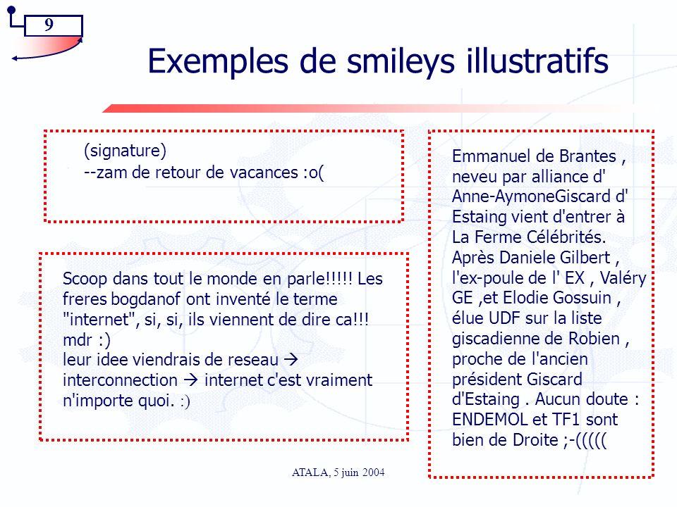 9 ATALA, 5 juin 2004 Exemples de smileys illustratifs (signature) --zam de retour de vacances :o( Scoop dans tout le monde en parle!!!!! Les freres bo