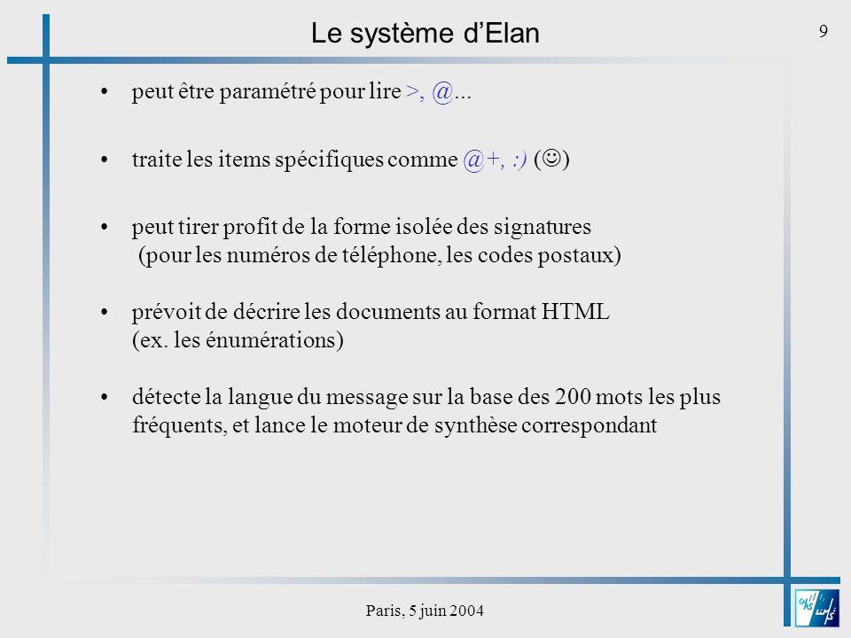 Paris, 5 juin 2004 10 Évaluation de la conversion graphème-phonème (GP) Le volet EvaSy du projet Technolangue EVALDA : évaluation de la synthèse de la parole à partir du texte en français corpus en cours de construction au DELIC, réutilisable dans des études futures 2 tâches envisagées pour la conversion GP : - liste de noms propres - courriers électroniques LARC ILOR B3 de la campagne AUPELF