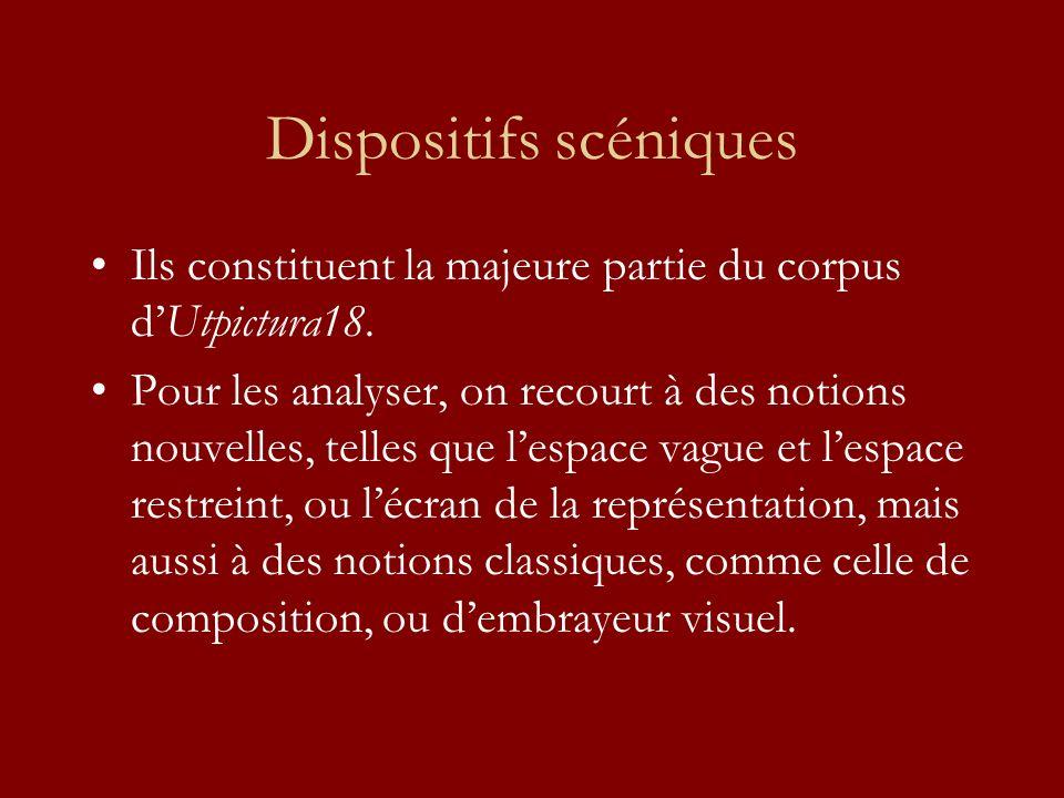 Dispositifs scéniques Ils constituent la majeure partie du corpus dUtpictura18. Pour les analyser, on recourt à des notions nouvelles, telles que lesp