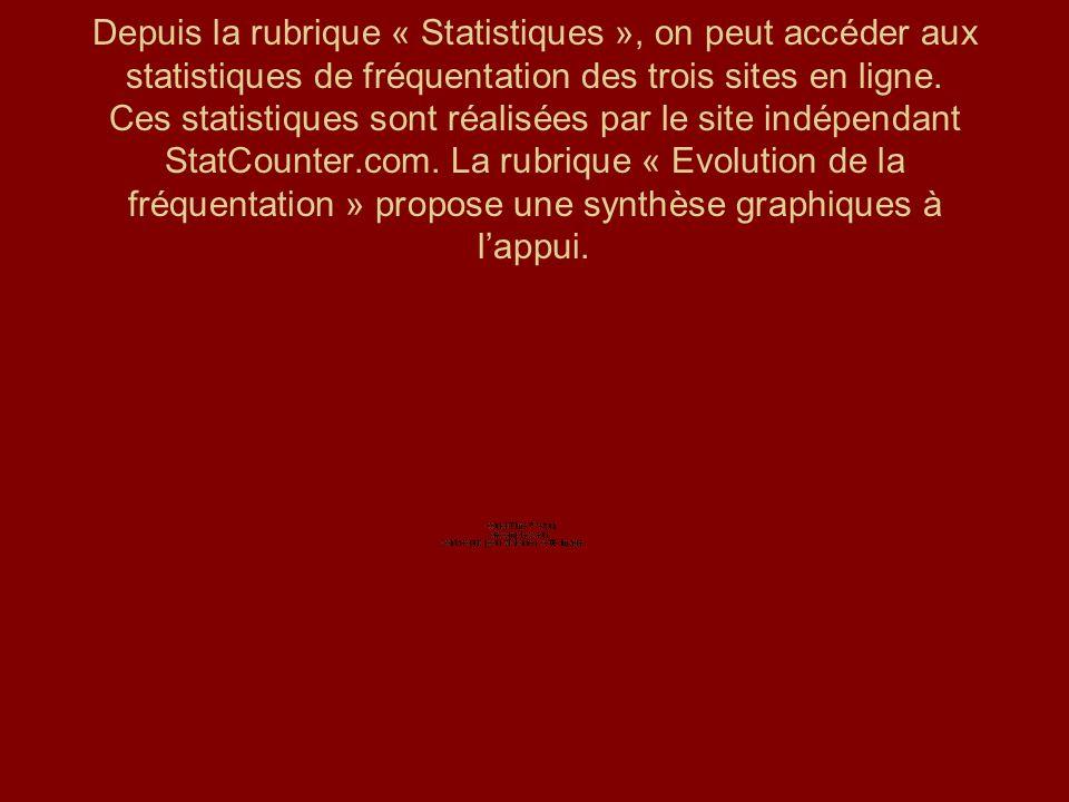Depuis la rubrique « Statistiques », on peut accéder aux statistiques de fréquentation des trois sites en ligne. Ces statistiques sont réalisées par l