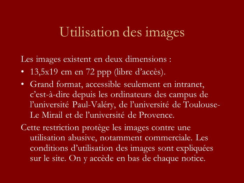 Utilisation des images Les images existent en deux dimensions : 13,5x19 cm en 72 ppp (libre daccès). Grand format, accessible seulement en intranet, c