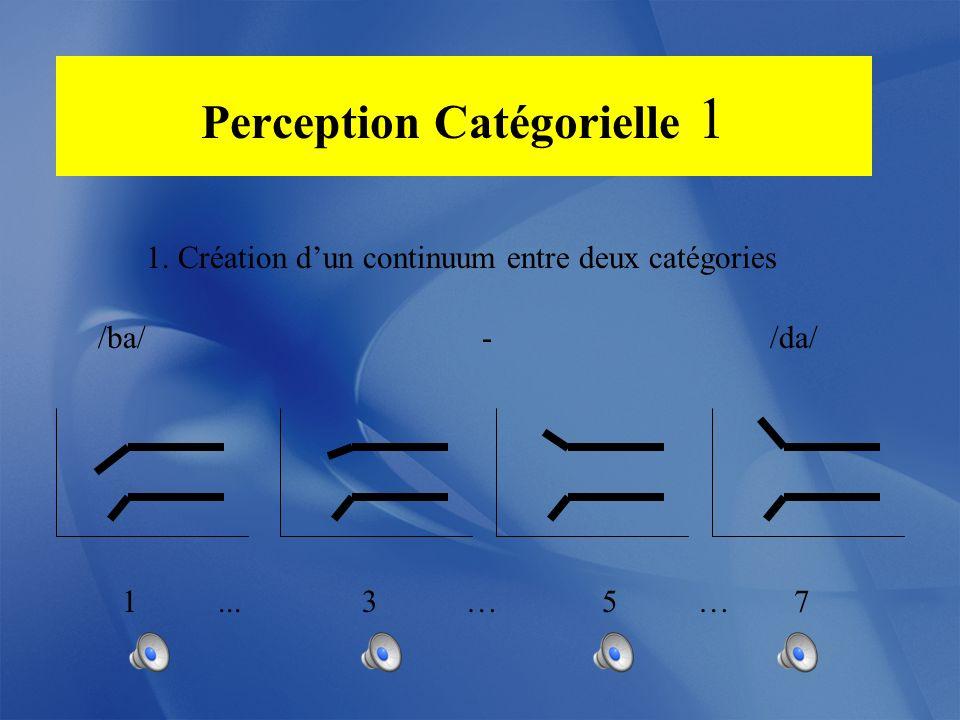 Perception Catégorielle 1. Création dun continuum entre deux catégories /ba/ - /da/