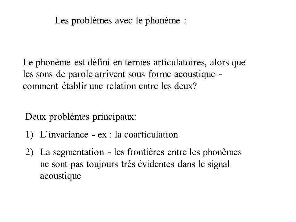 Perception Catégorielle 2 1. Expérience de classification 1... 3 … 5 … 7 % /ba/ 100 Frontière nette
