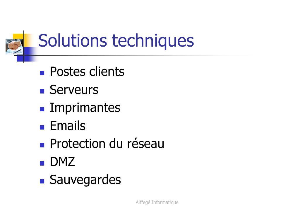 Aiffegé Informatique Solutions techniques Postes clients Serveurs Imprimantes Emails Protection du réseau DMZ Sauvegardes