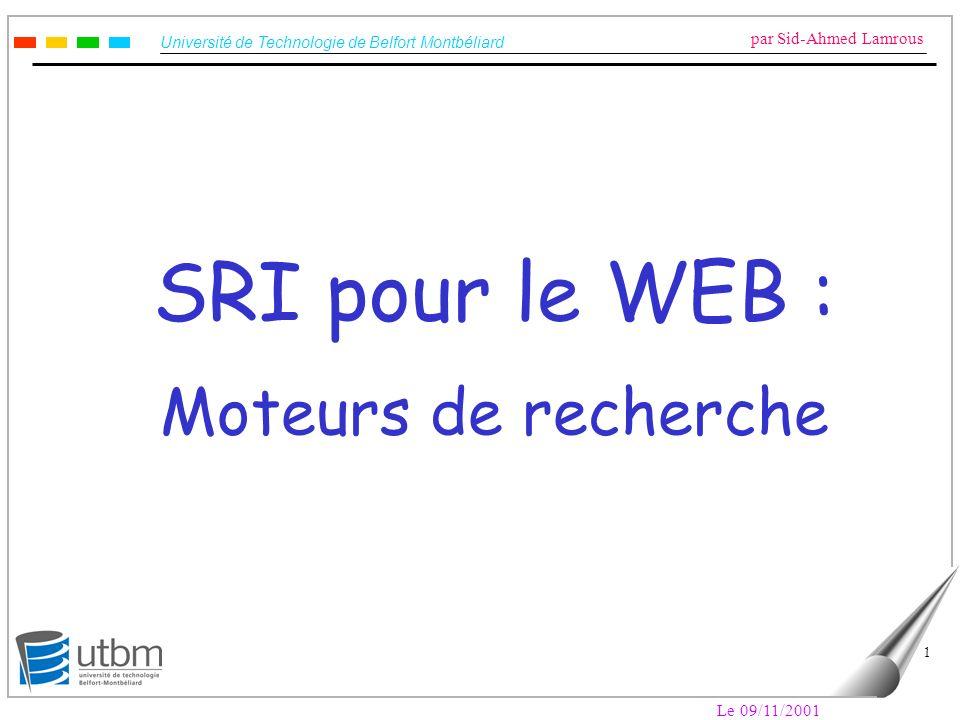 Université de Technologie de Belfort Montbéliard par Sid-Ahmed Lamrous Le 09/11/2001 42 Le Web « invisible » (2) 2- Les pages dynamiques : ce sont les pages typiquement liées à des bases de données, il yen a de plus en plus sur le Web.