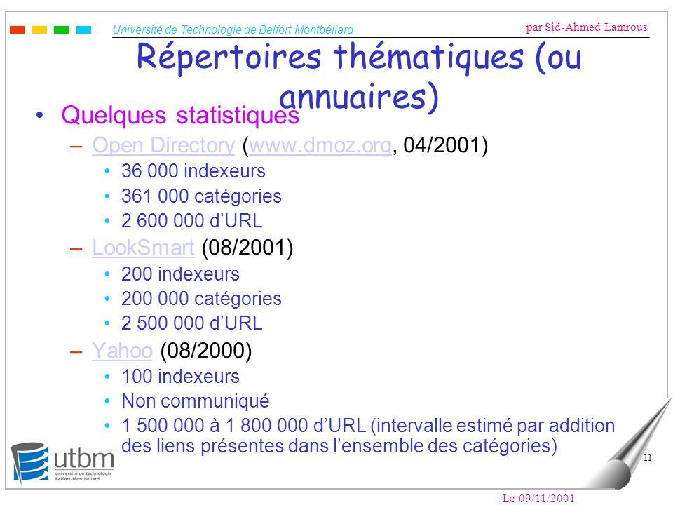Université de Technologie de Belfort Montbéliard par Sid-Ahmed Lamrous Le 09/11/2001 11 Répertoires thématiques (ou annuaires) Quelques statistiques –