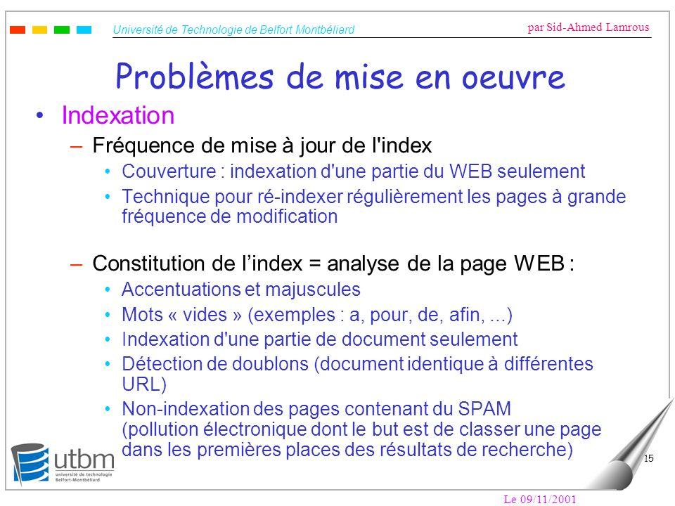 Université de Technologie de Belfort Montbéliard par Sid-Ahmed Lamrous Le 09/11/2001 15 Problèmes de mise en oeuvre Indexation –Fréquence de mise à jo