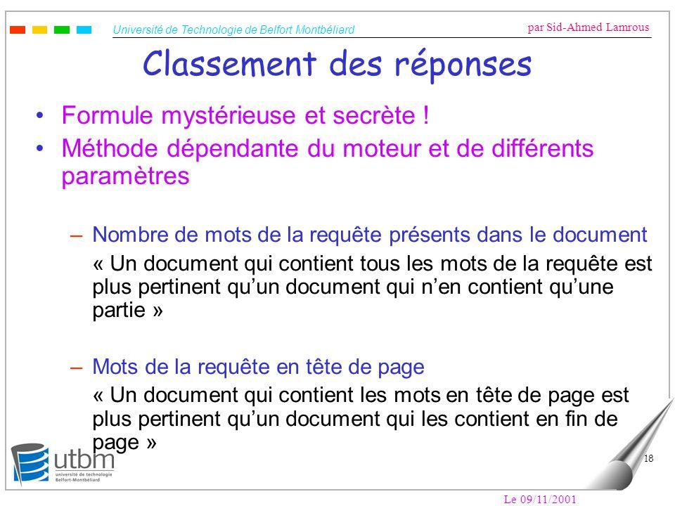 Université de Technologie de Belfort Montbéliard par Sid-Ahmed Lamrous Le 09/11/2001 18 Classement des réponses Formule mystérieuse et secrète ! Métho