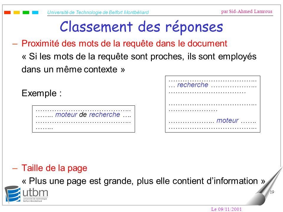 Université de Technologie de Belfort Montbéliard par Sid-Ahmed Lamrous Le 09/11/2001 19 Classement des réponses –Proximité des mots de la requête dans