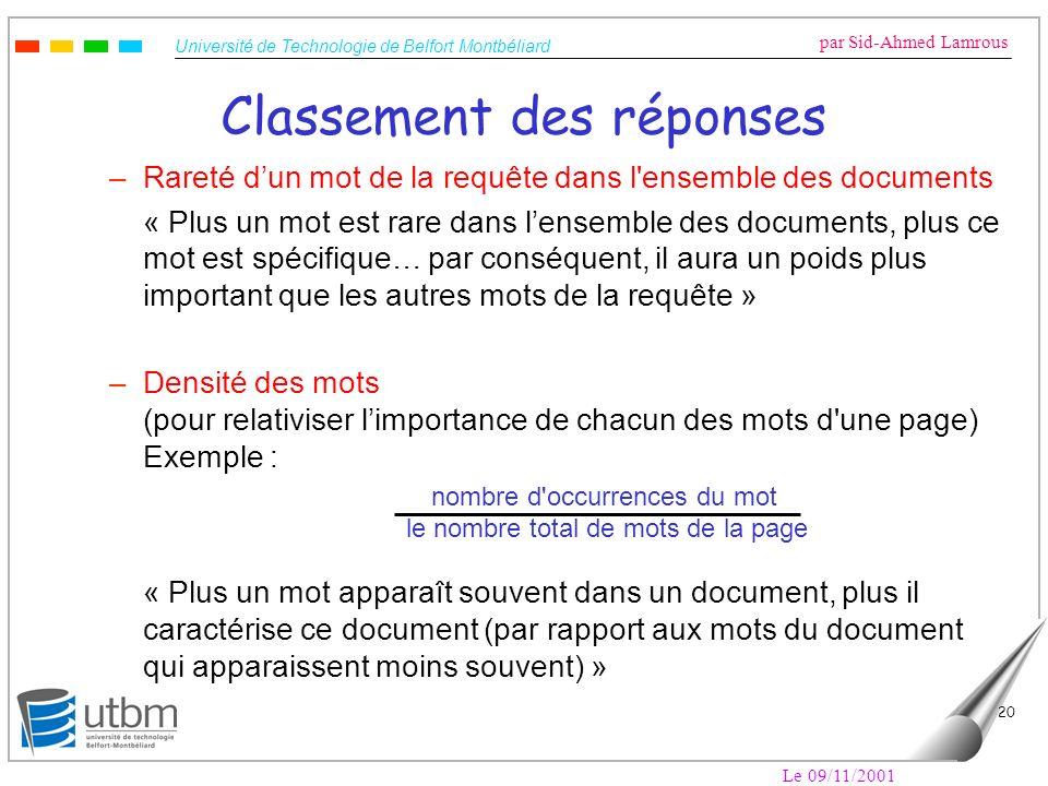 Université de Technologie de Belfort Montbéliard par Sid-Ahmed Lamrous Le 09/11/2001 20 Classement des réponses –Rareté dun mot de la requête dans l'e