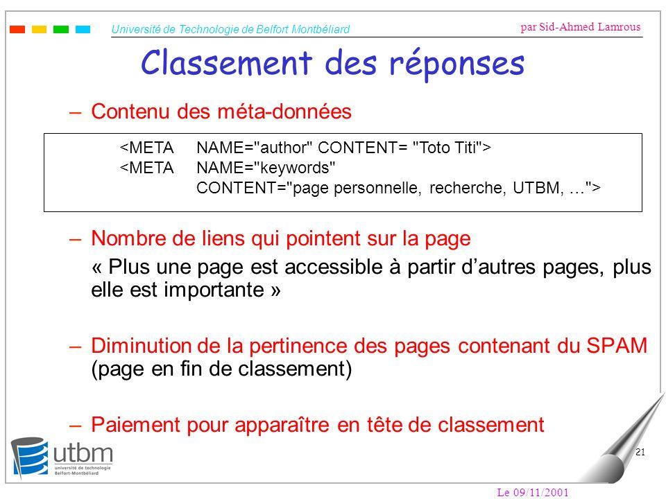 Université de Technologie de Belfort Montbéliard par Sid-Ahmed Lamrous Le 09/11/2001 21 Classement des réponses –Contenu des méta-données –Nombre de l